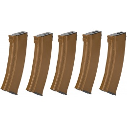 E&L Airsoft 5X 74N Mid-Cap 120Rds AEG Magazine Box Set - BROWN