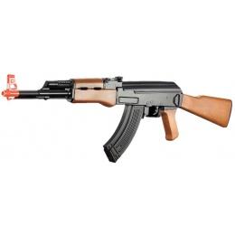 Lancer Tactical ABS Polymer AK47 AEG Airsoft Rifle - BLACK / FAUX WOOD