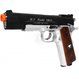 TSD Two-Tone M1911 CO2 Blowback Pistol Tactical-601 - BLACK / SILVER