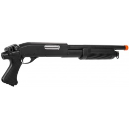 Lancer Tactical M870 Full Metal Tri-Shot Airsoft Shotgun - BLACK