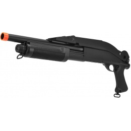 Lancer Tactical Airsoft Shotgun Short Barrel Tri-Burst w/ Folding Stock - BLACK