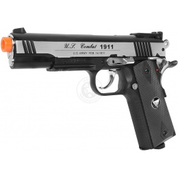 TSD Two-Tone M1911 CO2 Blowback Pistol Tactical-601 - SILVER / BLACK