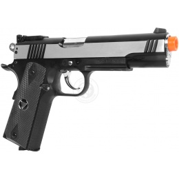 TSD Two-Tone M1911 CO2 Blowback Pistol Tactical-601 - SILVER / BLACK