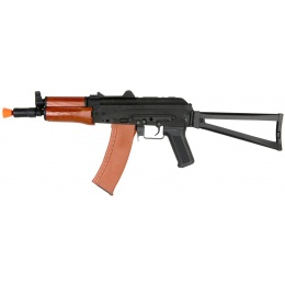 Lancer Tactical AK-74U Airsoft AEG Rifle w/ Real Wood Handguard - BLACK