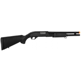 Lancer Tactical Long M870 Shell Loading Tri-Shot Airsoft Shotgun - BLACK