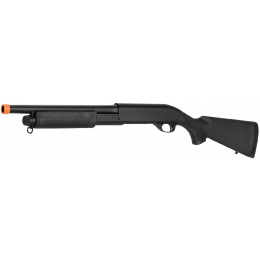 Lancer Tactical Full Metal M870 Shell Loading Tri-Shot Airsoft Shotgun - BLACK