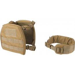 Lancer Tactical 1000D Nylon Youth MOLLE Vest w/ Battle Belt [S] - TAN