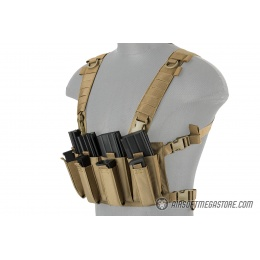Lancer Tactical 1000D Nylon Quad M4 and Pistol Mag Chest Rig - TAN