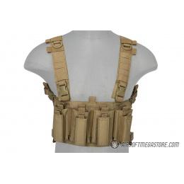 Lancer Tactical 1000D Nylon Quad M4 and Pistol Mag Chest Rig - TAN