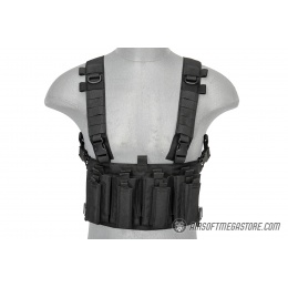Lancer Tactical 1000D Nylon Quad M4 and Pistol Mag Chest Rig - BLACK