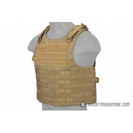 Lancer Tactical 1000D Nylon AAV Style Plate Carrier - TAN