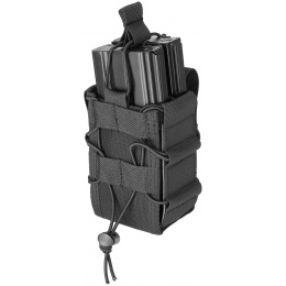 Lancer Tactical 1000D Nylon MOLLE Bungee Double Mag Pouch - BLACK