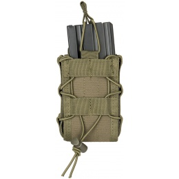 Lancer Tactical 1000D Nylon MOLLE Bungee Double Mag Pouch - OD GREEN