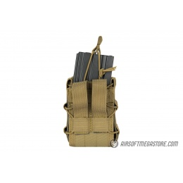 Lancer Tactical 1000D Nylon MOLLE Bungee Double Mag Pouch - TAN