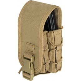 Lancer Tactical 1000D Nylon QD Buckle Pistol/Rifle Mag Pouch - TAN