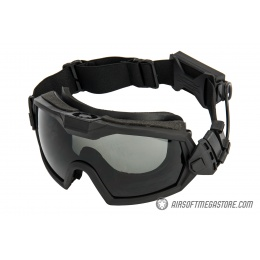 G-Force Full Seal Airsoft Goggles w/ Built-In Fan [Smoke/Clear Lens] - BLACK