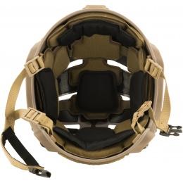 Lancer Tactical MT Helmet w / Side Rails and Shroud - TAN
