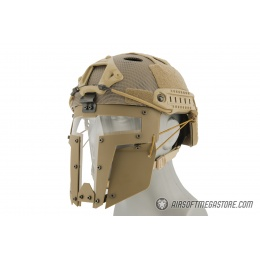 T-shaped Windowed Attachment Face Mask For Bump Helmets - TAN