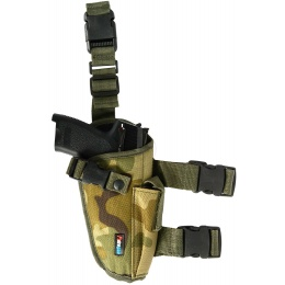 FDG Tactical Pistol Right Handed Drop Leg Holster - WOODLAND