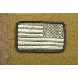 AMS Airsoft Premium Reverse American Flag Patch Arid - OD GREEN