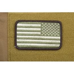 AMS Airsoft Premium Reverse American Flag Patch Arid - OD GREEN