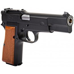 WE Tech Browning Hi-Power Gas Blowback Airsoft Pistol - BLACK/WOOD