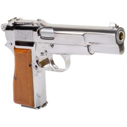 WE Tech Browning Hi-Power Gas Blowback Airsoft Pistol - SILVER/WOOD