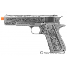 WE Tech Full Metal Gas Blowback Floral Pattern 1911 - SILVER