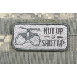 AMS Airsoft Premium Nut Up or Shut Up Patch - GRAY/ ACU