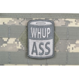 AMS Airsoft Whup Ass Patch - GRAY/ ACU - Premium Hi-Fidelity Series