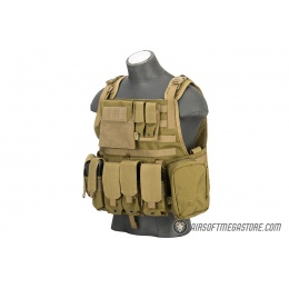 Flyye Industries 1000D Cordura MOLLE Plate Carrier w/ Pouches [LRG]- KHAKI