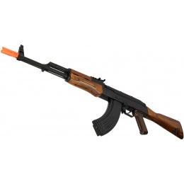 GHK AKM Gas Blowback GBB Airsoft Rifle w/ Real Wood Furniture - BLACK