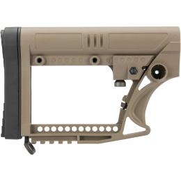 G-Force Adjustable Stock w/ Cheek Plate for Carbine Airsoft Rifles - TAN