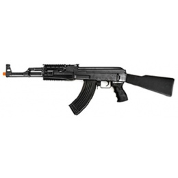 Lancer Tactical AK47 RIS Airsoft AEG Rifle w/ Foldable Foregrip - BLACK