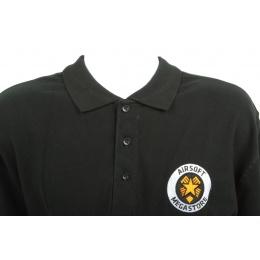 Airsoft Megastore Logo Premium Polo Shirt - BLACK - 100% Cotton
