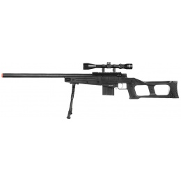 WellFire MK96 Covert Airsoft Sniper Rifle w/ Scope & Bipod - BLACK