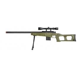 WellFire MK96 Covert Airsoft Sniper Rifle w/ Scope & Bipod - OD GREEN