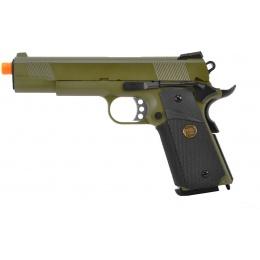 WE Tech 1911 MEU Full Metal Gas Blowback Pistol - OD GREEN