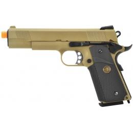 WE Tech 1911 MEU Full Metal Airsoft Gas Blowback Pistol - TAN