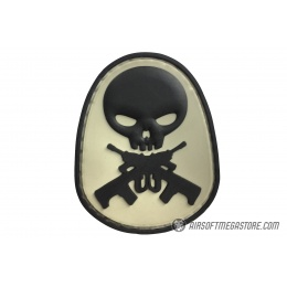 G-Force Skull and Rifle Bones PVC Morale Patch - BLACK