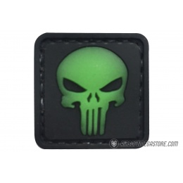 G-Force Punishing Skull Glow in the Dark PVC Morale Patch - BLACK / GREEN