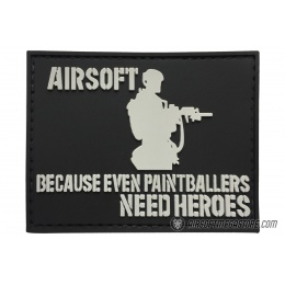 G-Force Airsoft, Even Paintballers Need Heroes PVC Morale Patch - BLACK