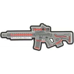 Lancer Tactical LT-34 Rifle PVC Morale Patch - GRAY / RED