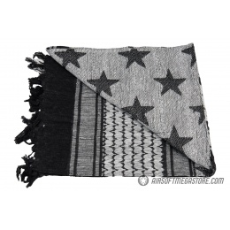 Lancer Tactical Multi-Purpose Shemagh Face Head Wrap w/ Stars - BLACK / WHITE