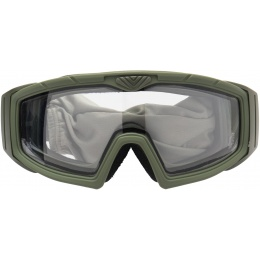 Lancer Tactical Rage Protective Green Airsoft Goggles - CLEAR LENS