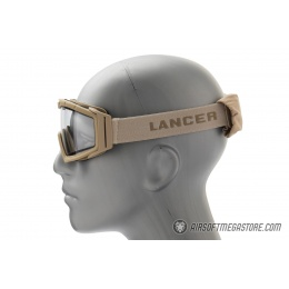 Lancer Tactical Rage Protective Tan Airsoft Goggles - CLEAR LENS