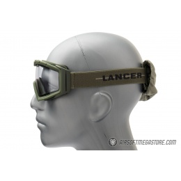 Lancer Tactical Rage Protective Green Airsoft Goggles - SMOKE/YELLOW/CLEAR LENS