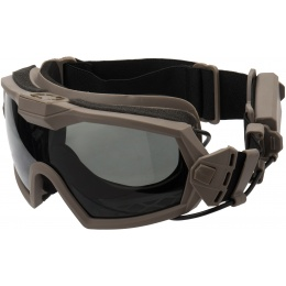 G-Force Full Seal Airsoft Goggles w/ Built-In Fan [Smoke/Clear Lens] - TAN