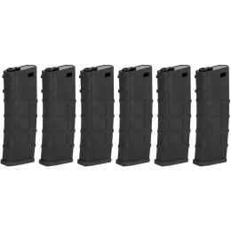 Lonex 30rd Low Capacity M4 AEG Polymer Airsoft Magazine [Pack of 6] - BLACK