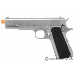 WE Tech 1911 MEU Airsoft Gas Blowback Pistol w/ Classic Grips - SILVER